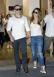 Jennifer Lopez kicked back for a shopping trip in these golden high-tops.