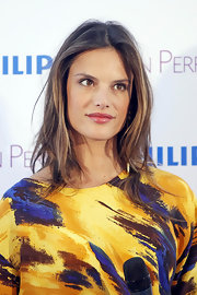 Alessandra Ambrosio wore her long hair in a layered 'do while at the ME Hotel in Madrid, Spain.