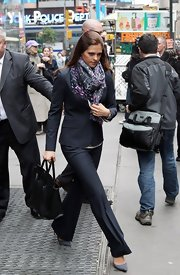 Princess Madeleine left the Nasdaq building in a tailored black pantsuit.