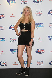 Ellie Goulding went for a sexy-sporty look with this midriff-baring black romper at the Capital FM Summertime Ball.