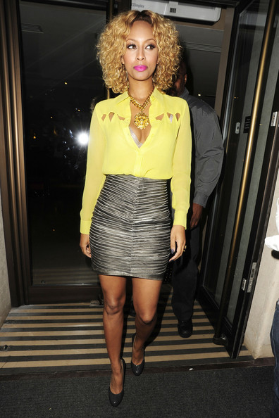 Keri looked ravishing in a silver high-waisted mini while out in London.