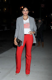 Rachel Roy got patriotic in a pair of bright red trousers and an American flag T-shirt.