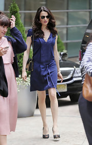 Rachel Weisz looked elegant outside the 'Charlie Rose' show in a pair of black lace peep-toes. The elegant footwear dolled up her navy satin dress.