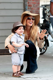 Adorable tot Skyler Berman donned a baby blue linen short suit for a day out in NYC.