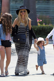 Rachel Zoe showed off her love of the maxi when she sported this white and black striped dress.