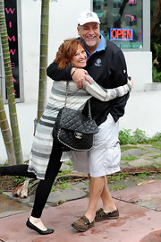 Caroline Manzo went shopping in Miami carrying a stylish quilted Chanel bag.