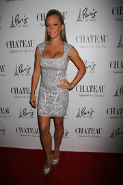 Kendra Wilkinson chose a printed frock to show off her curves at her birthday party.