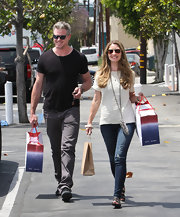 Eric Dane chose a classic black tee for his casual look while out with his wife.