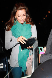 Eva Longoria wore this aqua scarf while out to dinner in Beverly Hills.