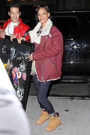 Even in an oversized fur-lined coat Rihanna looked simply chic.