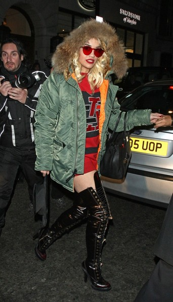 Rita Ora Over the Knee Boots