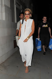 Rita's airy white jumpsuit was reminiscent of the pajama trend!