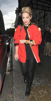 Rita Ora chose this red military-inspired jacket with cool epaulet detailing on the shoulders for her look while filming a new music video in London.