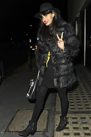 Jameela stepped out for a night of fun in London looking fabulous in her black fur coat.