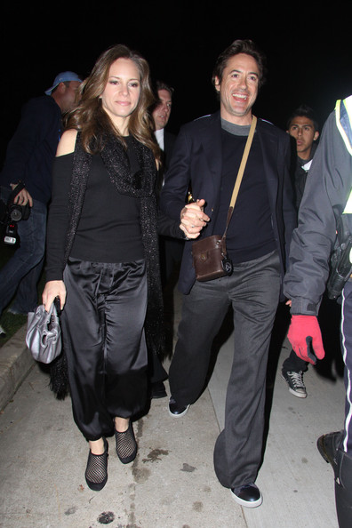 Susan Downey completed her snazzy ensemble with a pair of black mesh ankle boots.
