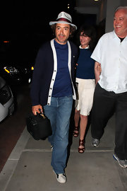 Robert Downey Jr. donned a navy blue sweater with white trim.