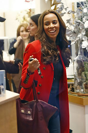 Rochelle Wiseman wore her new hair extensions in long curls while out in London.