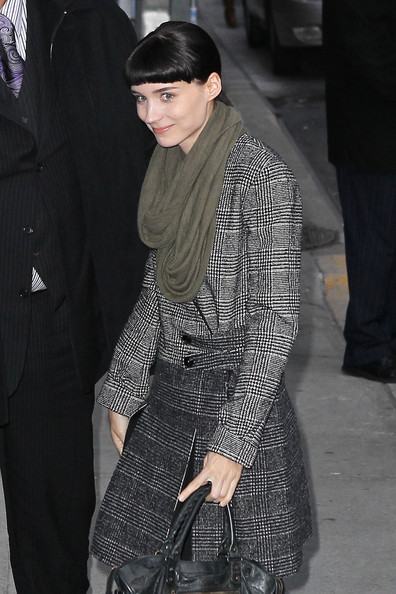 Rooney Mara styled her coat with an army-green scarf for her visit to 'Letterman.'
