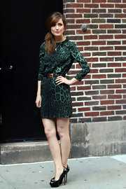 Rose Byrne donned a green silk leopard print dress for 'The Late Show with David Letterman.' The shift was belted with black leather and gold and paired with platform pumps.