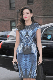 Rose McGowan looked fab in a cosmic-print peplum dress during New York Fashion Week.