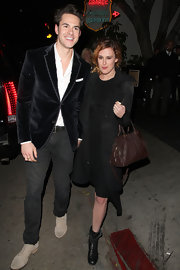 Rumor Willis stepped out for dinner in a cool black wool coat.