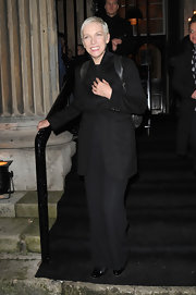 A simple black pantsuit was a chic choice for the 'Women of the Year' Awards.
