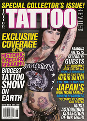 Michelle McGee posed with a gun metal studded belt for the cover shoot of Tattoo Magazine.