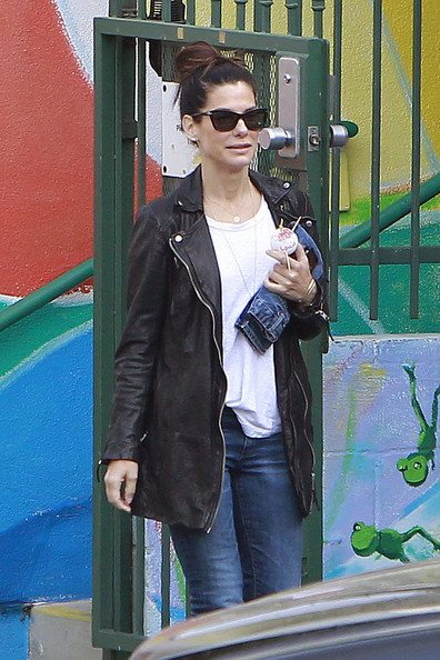 More Pics of Sandra Bullock Leather Coat (1 of 8) - Sandra Bullock Lookbook - StyleBistro