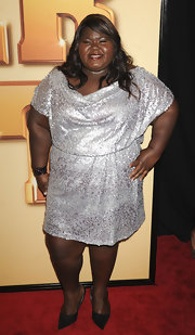 Gabourey Sibide donned a sparkling sequined cocktail dress for the 'Tower heist' premiere.