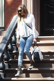 Sarah Jessica Parker chose a classic white cardigan for her daytime look while out in NYC.