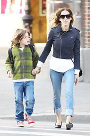 Sarah Jessica Parker wore this cropped navy jacket to walk her son to school.