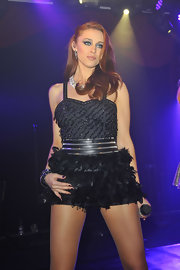 Una Healy chose this funky mini dress with a beaded bodice and feathered skirt for her on-stage-look.