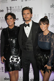 Kris Jenner showed off her black-and-white Chanel chain-strap bag during Scott Disick's 30th birthday bash.