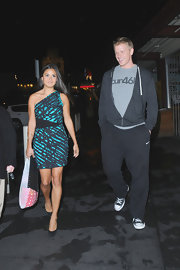 Catherine Giudici chose a turquoise and black one-shoulder dress for her look while out with fiance Sean Lowe.