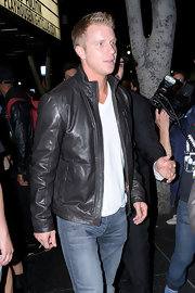 Sean Lowe sported a classic leather jacket while out late in Hollywood.