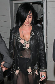 Katy upped the edgy leather-jacket ante by going for this slick studded option.