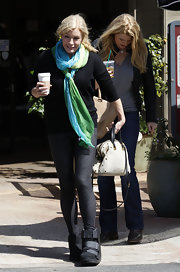 Shannon Tweed added a splash of color to her outfit by wearing a tie-dye scarf.