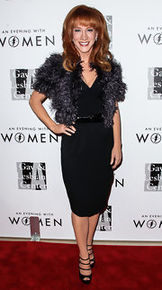 Kathy Griffin chose a classic LBD, spruced up with a feather jacket, for the Evening with Women gala.