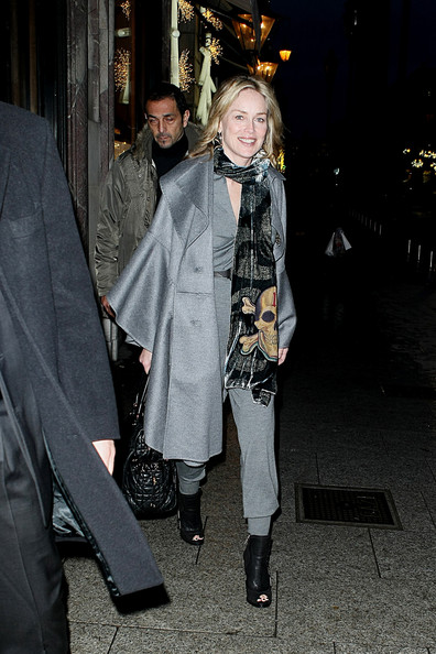 Sharon Stone Wool Coat