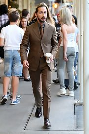 Shia LaBeouf stood out in his handsome brown suit while walking to the Paley Center for Media for a screening of 'Lawless.'