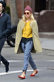 Although they resemble pajamas, Sienna Miller sported these slouchy pants while out in NYC.