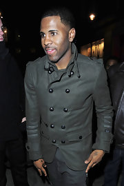 Singer Jason Derulo showed off an on trend olive green military jacket.