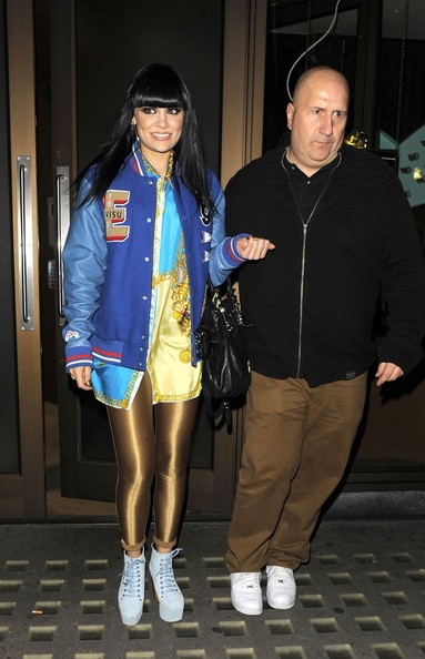 Jessie J. hit the town in a pair of baby blue suede platform lace-ups.
