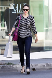 Mandy Moore embraced the nautical trend in a chic striped shirt and cuffed jeans.