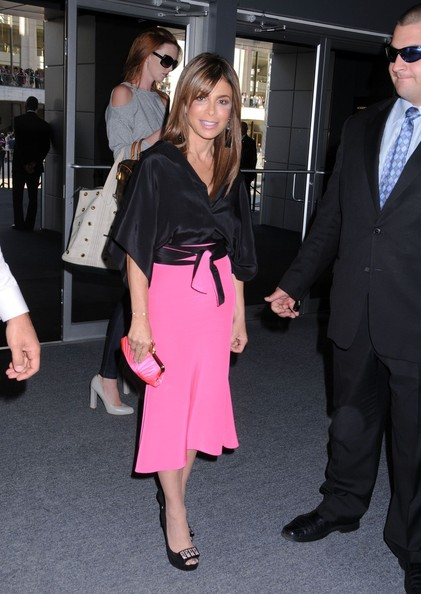 Paula Abdul looked sweet and stylish in her pink skirt, and bejeweled peep-toe pumps.