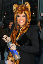 Kim isn't the only Kardashian who loves the false lashes.  Even in a bear hat, this fashion maven loves to rock the fakes.
