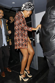 Solange Knowles rocked a pair of platform sandals while leaving a nightclub in LA. The heels worked well with her tribal-inspired look.