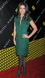 Katie Lee wore a green silk dress to the charity ball benefit.
