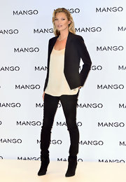 Kate Moss rocked a simple silhouette at the Mango announcement in black skinny jeans.