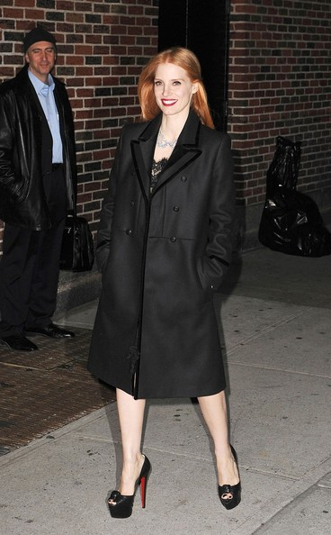 More Pics of Jessica Chastain Wool Coat (1 of 5) - Wool Coat Lookbook - StyleBistro